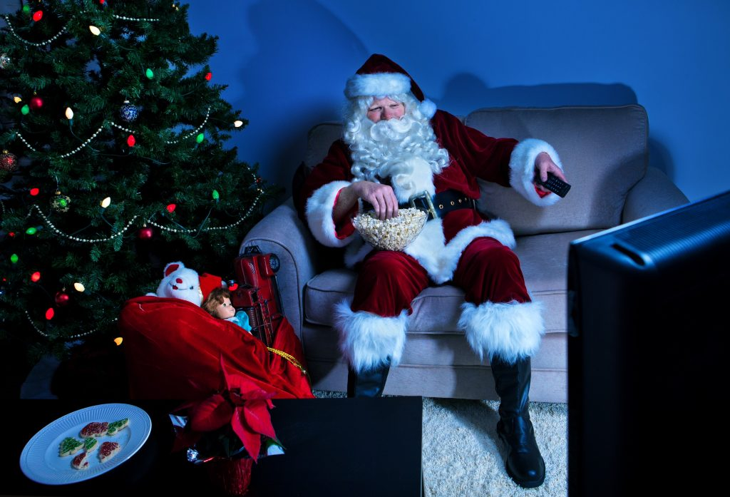 Father Christmas Watching TV`
